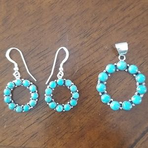 Turquoise earrings and pendant set NWT